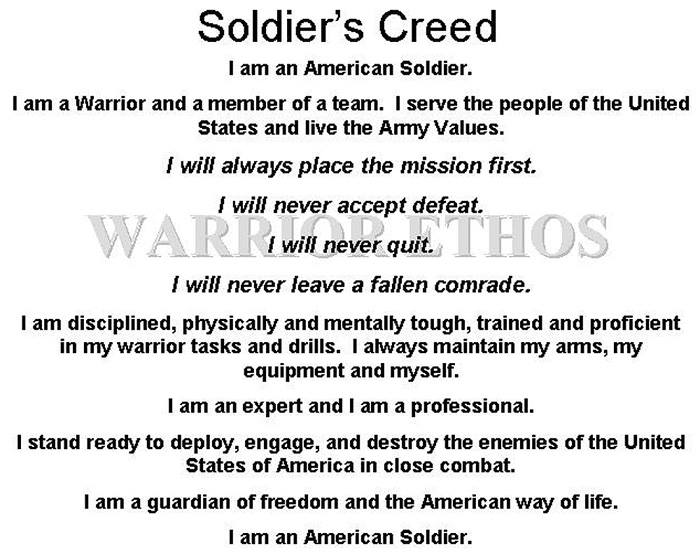 soldiers creed Soldier's creed i am an american soldier i am a warrior and a member of a  team i serve the people of the united states and live the army values i will  always.