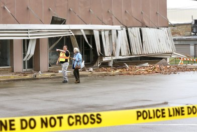 Damage in downtown Cushing on Monday, Nov. 7, 2016, caused by Sunday night's 5.0 magnitude earthquake. Photo by Jim Beckel, The Oklahoman